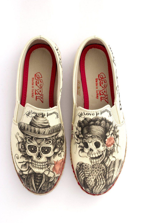 c3682e4911c49 Amazon.com | GOBY Women's Shoe 'Beige Sugar Skull Slip-On Espadrille ...