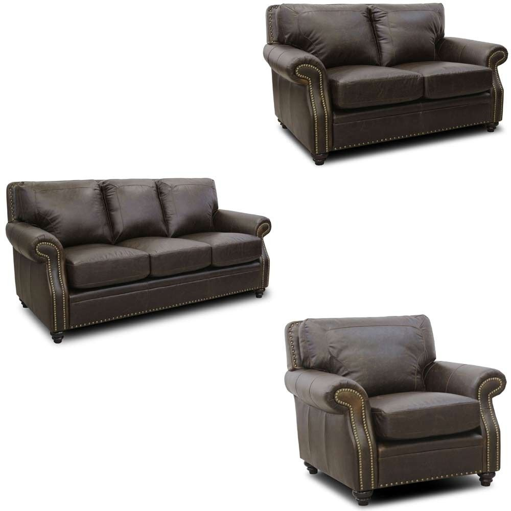 Luke Leather - Mason 3 Piece Arabica Italian Leather Living Room Set ...