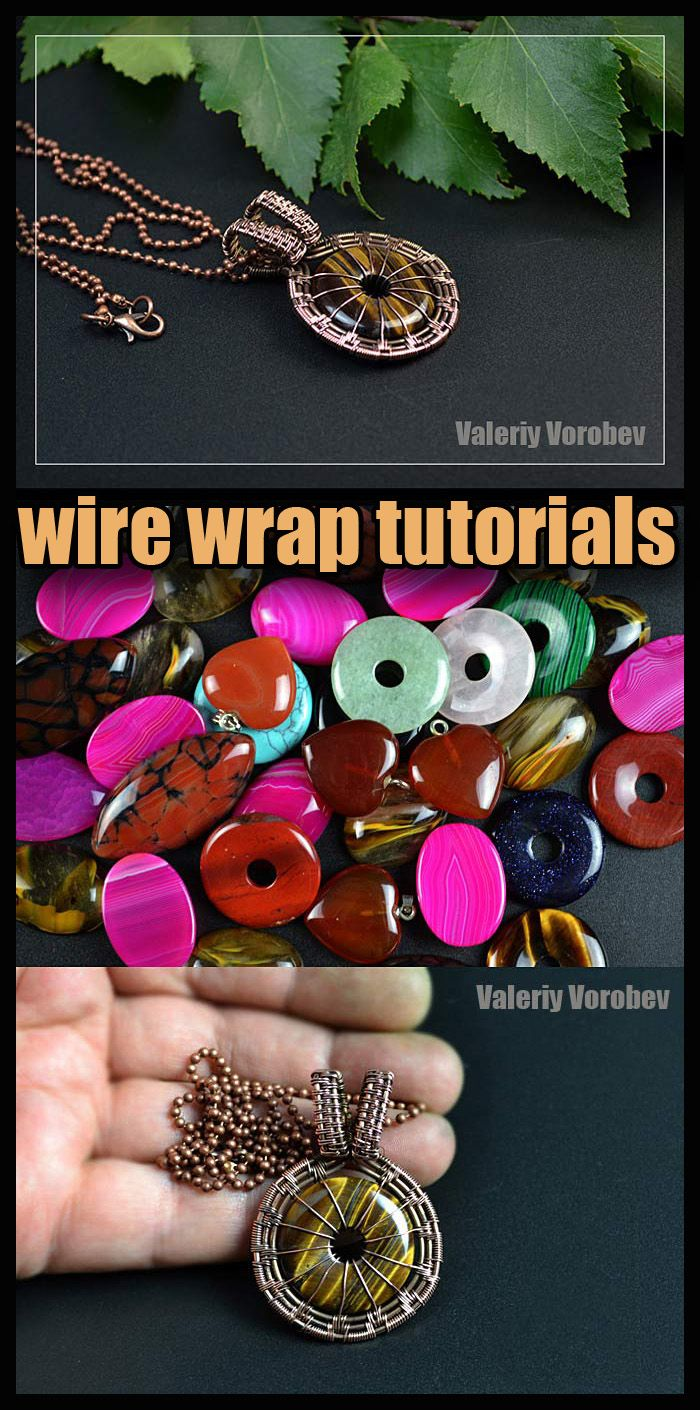 Photo of Handmade jewelry. Wire wrapped pendant. Wire wrap tutorial.