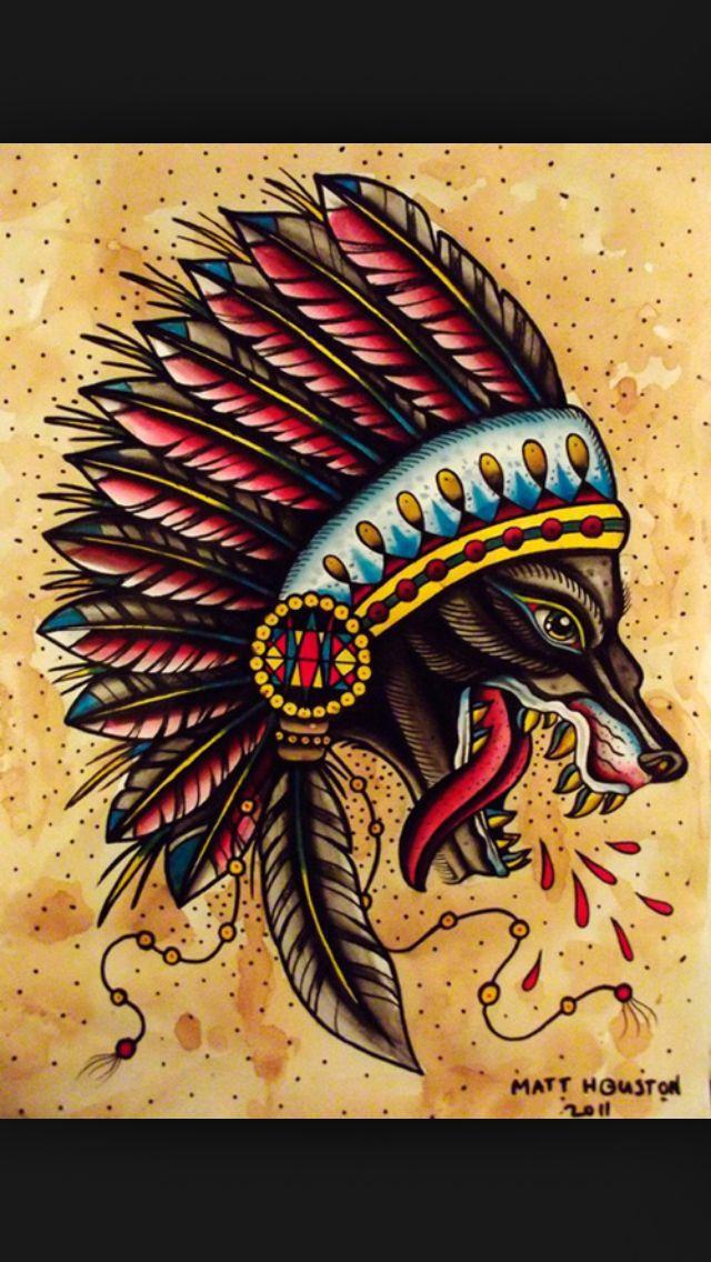 Classic Tattoo Indian Wolf Lovely Colours Traditional Tattoo Traditional Tattoo Design Wolf Tattoos
