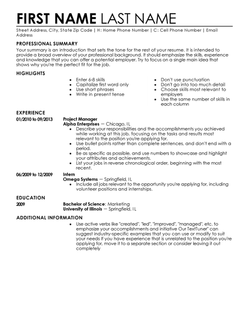 Entry Level Resume Templates To Impress Any Employer | LiveCareer  Livecareer Login