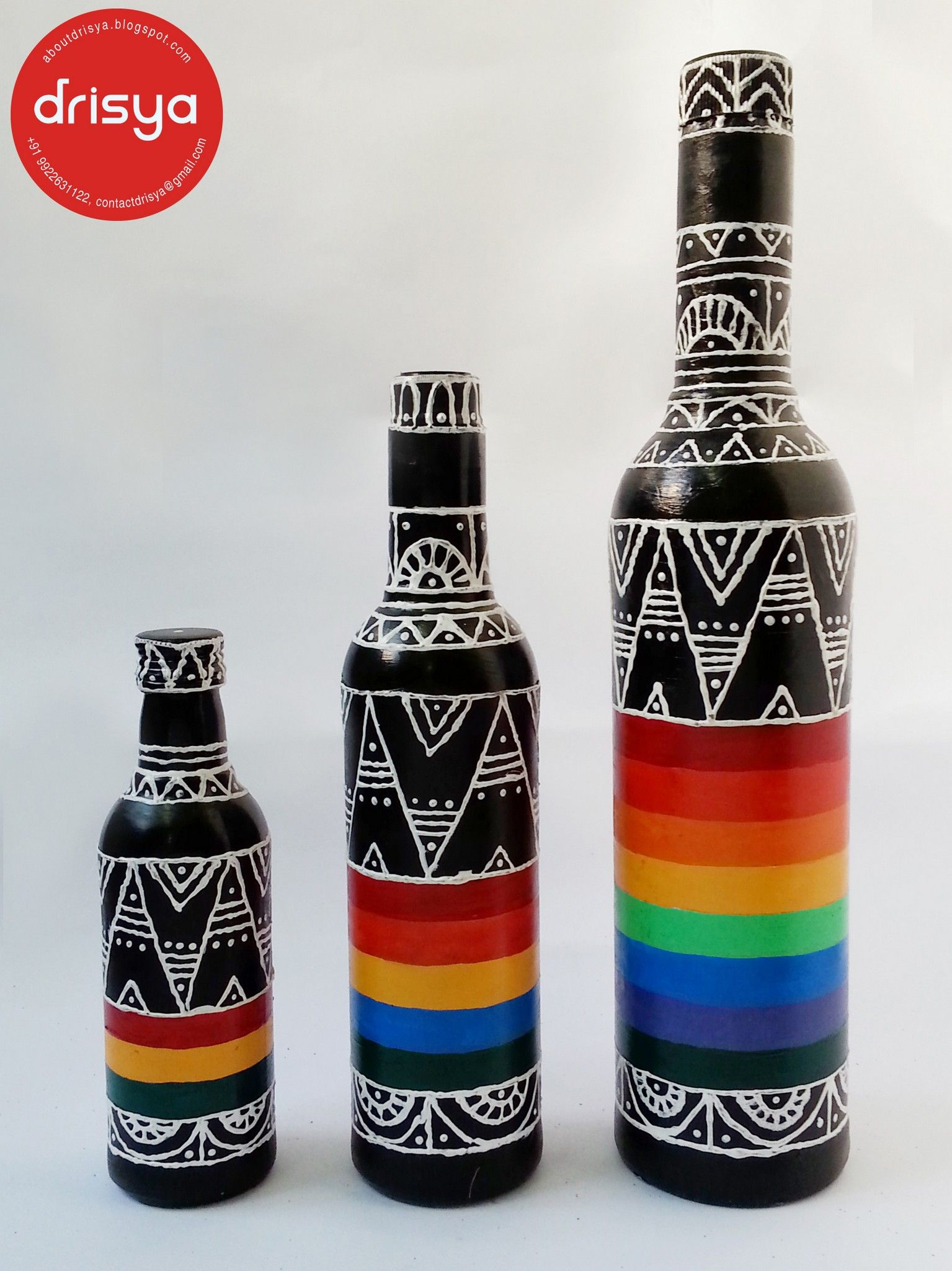 Hand Painted Designer Bottles From Drisya Glass Bottle Diy Glass Bottles Art Hand Painted Bottles