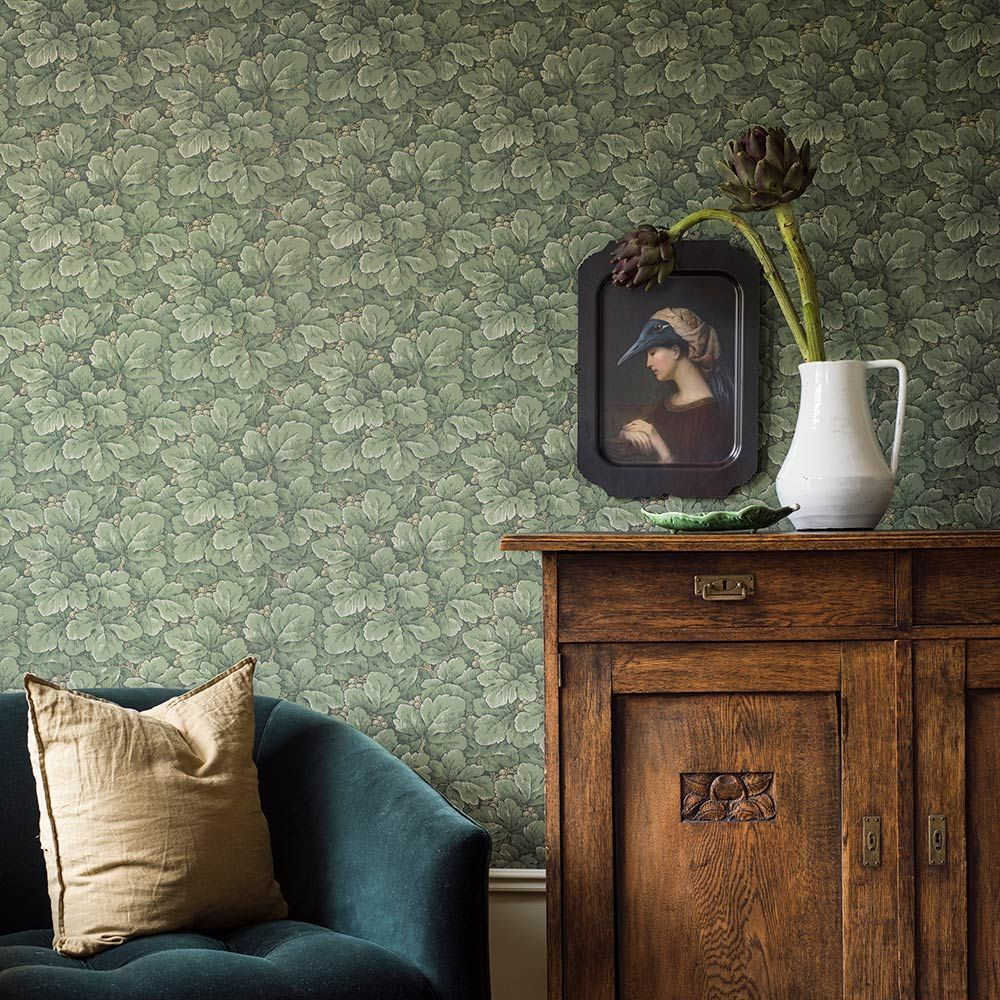 Borastapeter Waldemar Green Wallpaper Extra Image Green Wallpaper Green Interior Decor Borastapeter