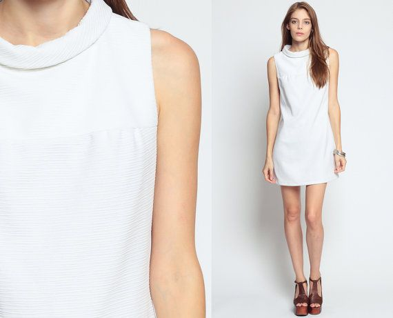 Mod Shift Dress 60s Mini White BOW 1960s Sleeveless A Line TWIGGY ...