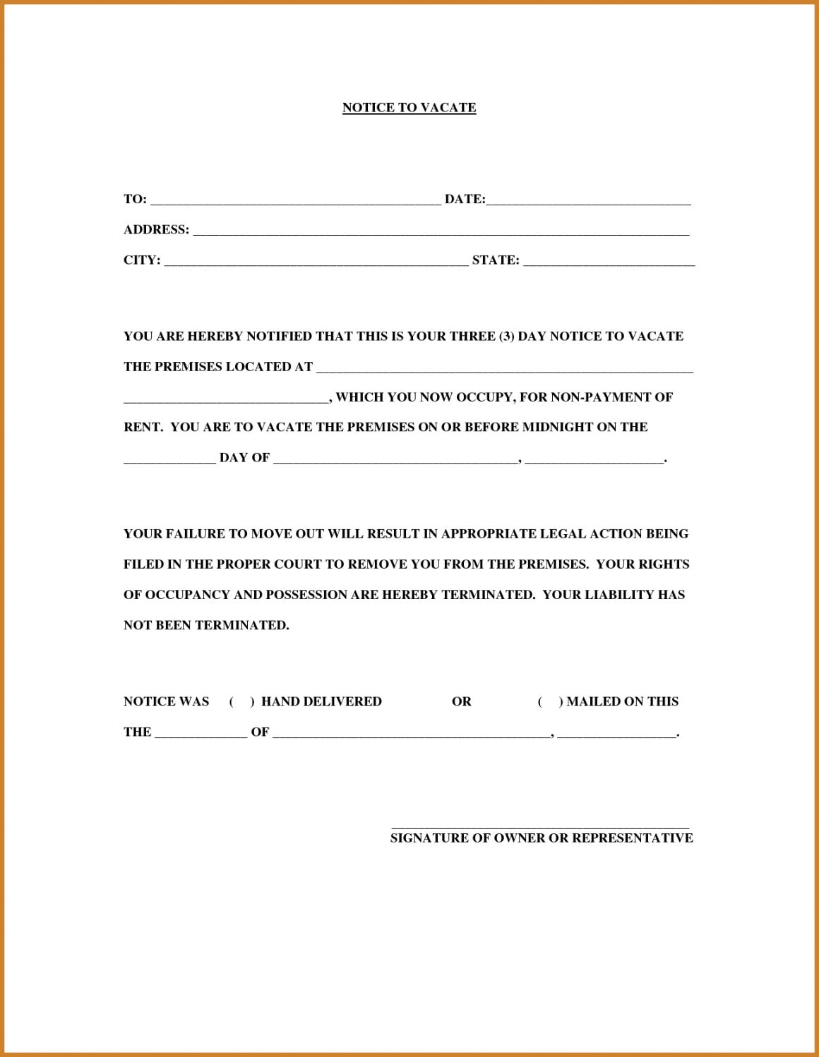 Browse Our Printable 30 Day Intent To Vacate Notice Template 30 Day Eviction Notice Eviction Notice Lettering