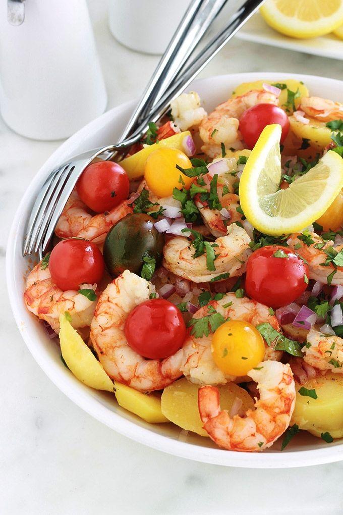 Salade de pommes de terre aux crevettes et tomates