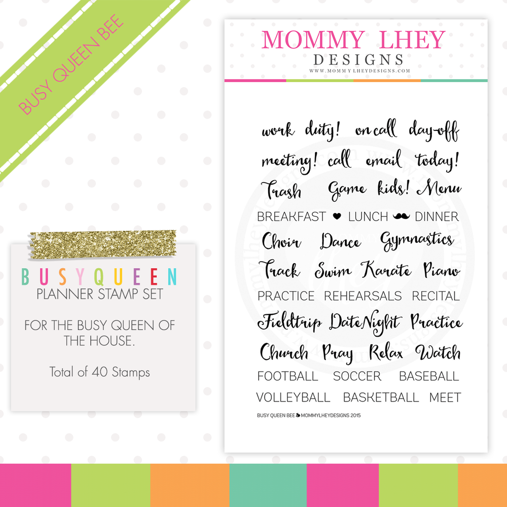 Busy Queen Bee Planner Stamps - Mommy Lhey Designs