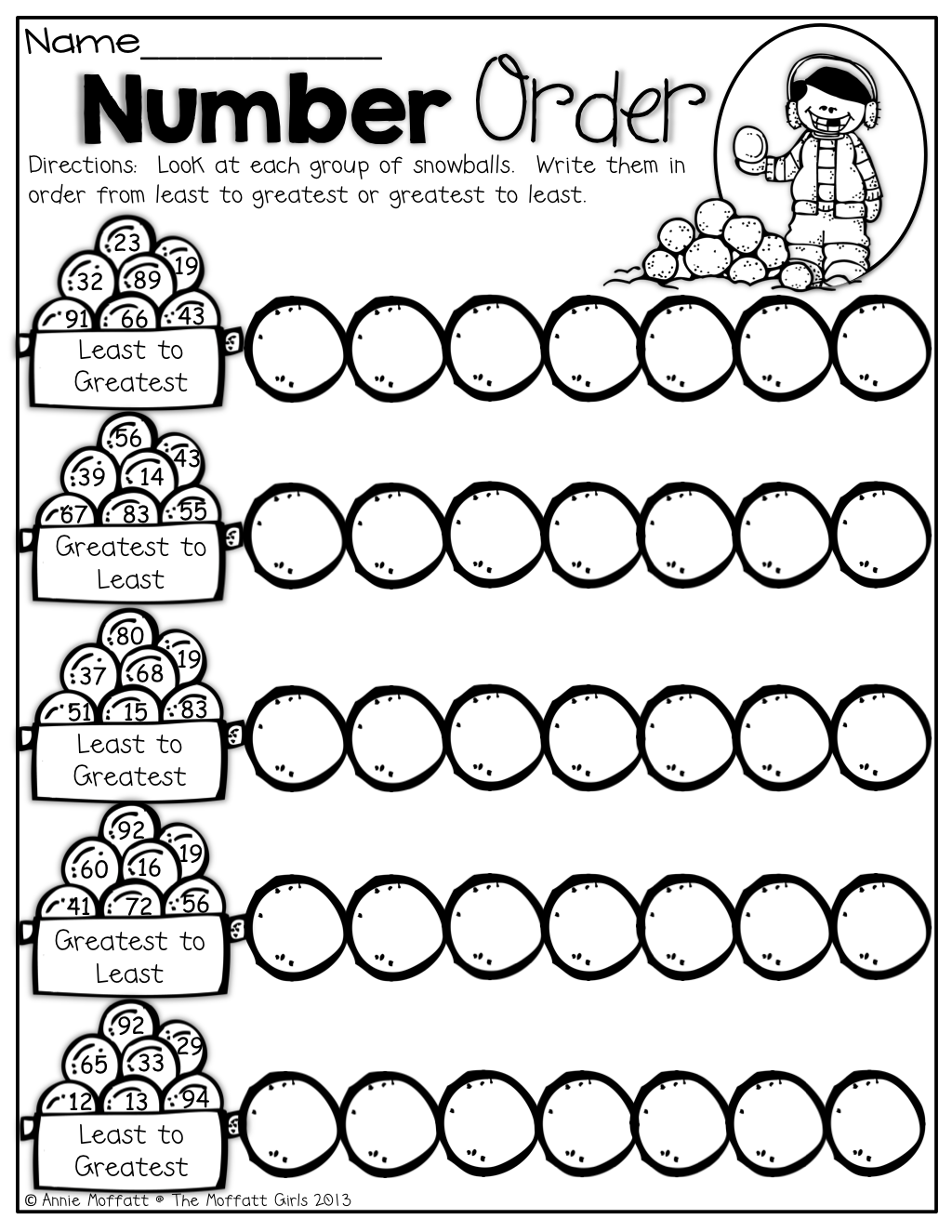 worksheet Ordering Numbers Worksheets number order put the snowballs in from least to greatest and least