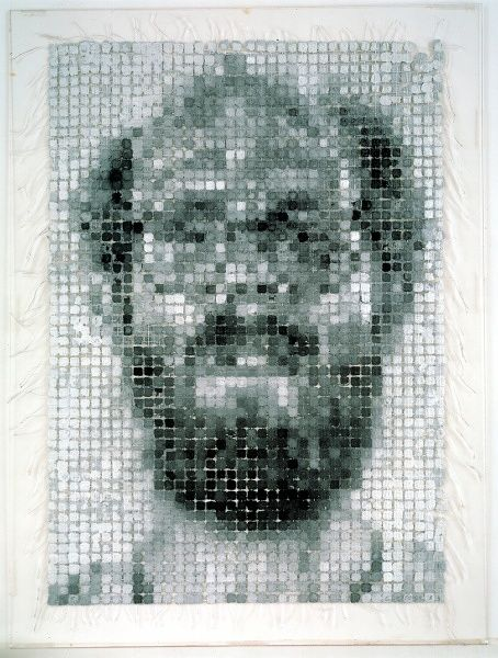 Chuck Close, Self-Portrait/String, 1983 handmade paper pulp in 24 gray values and string 37 x 27""