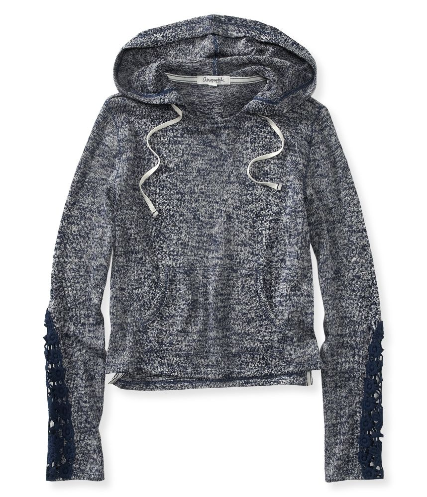 Sheer Cropped Lightweight Popover Hoodie from Aeropostale ...
