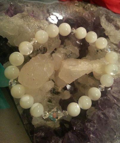 White Mother of Pearl Bracelet with Swarovski Crystals – Evolve Jewelry Design www.evolvejewelrydesign.net www.facebook.com/evolvejewelrydesign1