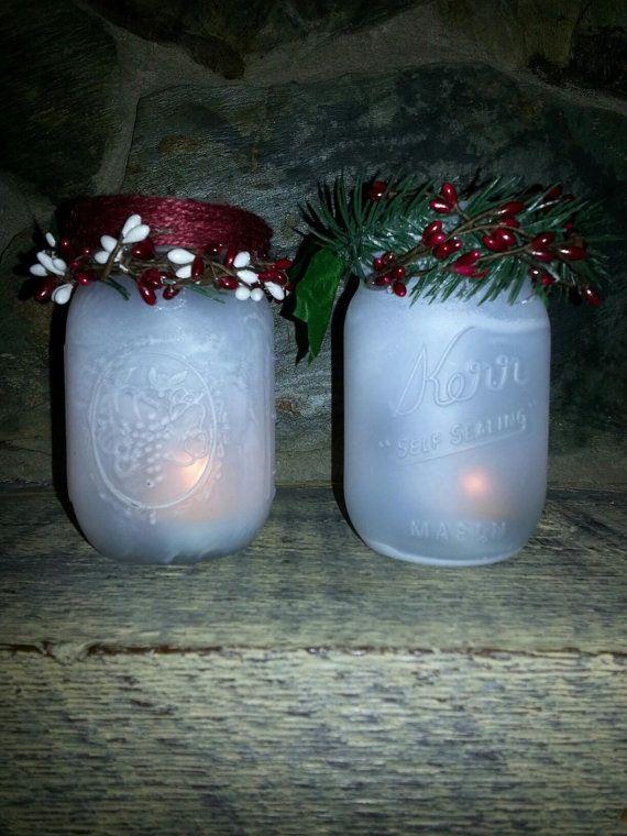 Frosted mason jar candle holder.   Holiday mason jar, Frosted mason jars, Mason jar candles