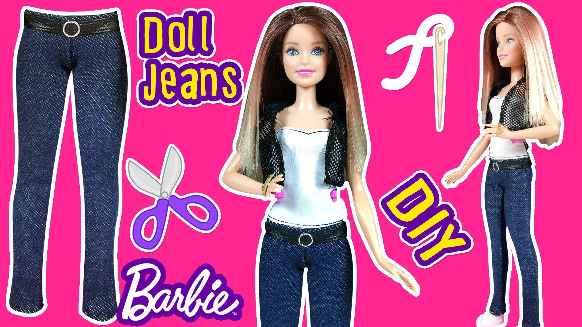 How to Make Barbie Doll Jeans - DIY Barbie Clothes Tutorial - Making ...
