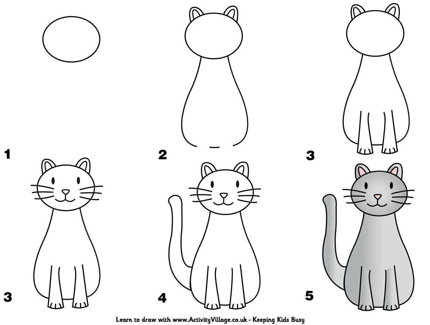 Tutoriels dessiner un chat | ANIMAUX | Dessin chat, Dessin ... - Dessiner Un Chat Facile