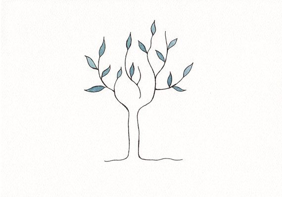 Original Abstract Tree Drawing Minimalist Illustration For Living Room Decor Small Format Nature Art For Gal Tree Tattoo Simple Tree Tattoo Tree Tattoo Small