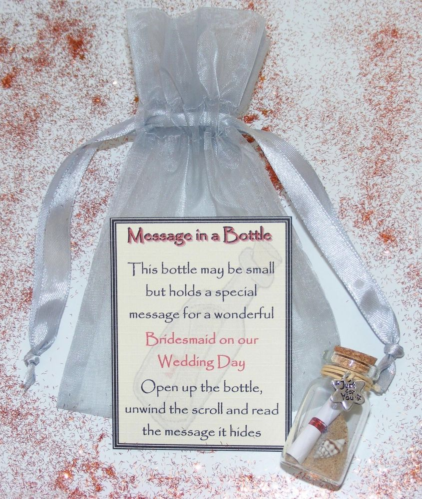 Personalised Bridesmaid Message Bottle Gift Card Wedding Thank You ...