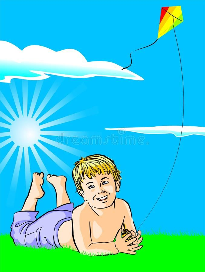 Boy with his kite Vector illustration of a kid playing with his kite in a grass