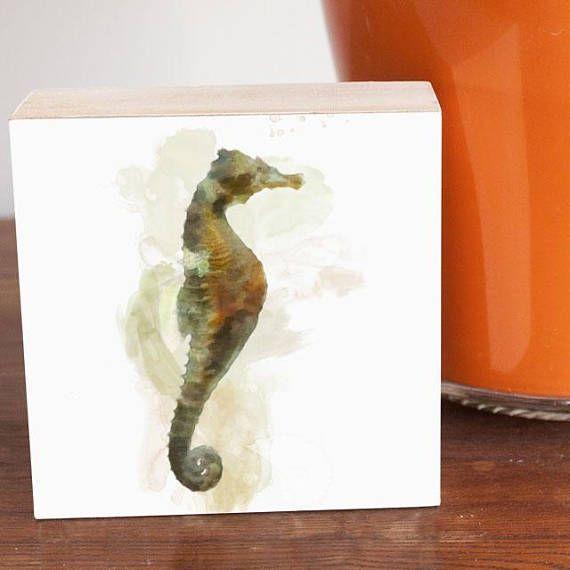 Seahorse painting art panel 4x4 watercolor painting watercolors ...