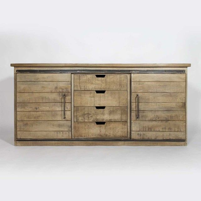 Buffet Industriel 2 Portes Coulissantes 4 Tiroirs If626c Made In