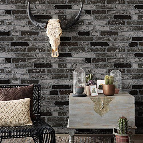 HaokHome 151010 Vintage Faux Brick Textured Wallpaper Roll Grey Dark Gray  3D Brick Home Room. HaokHome 151010 Vintage Faux Brick Textured Wallpaper Roll Grey