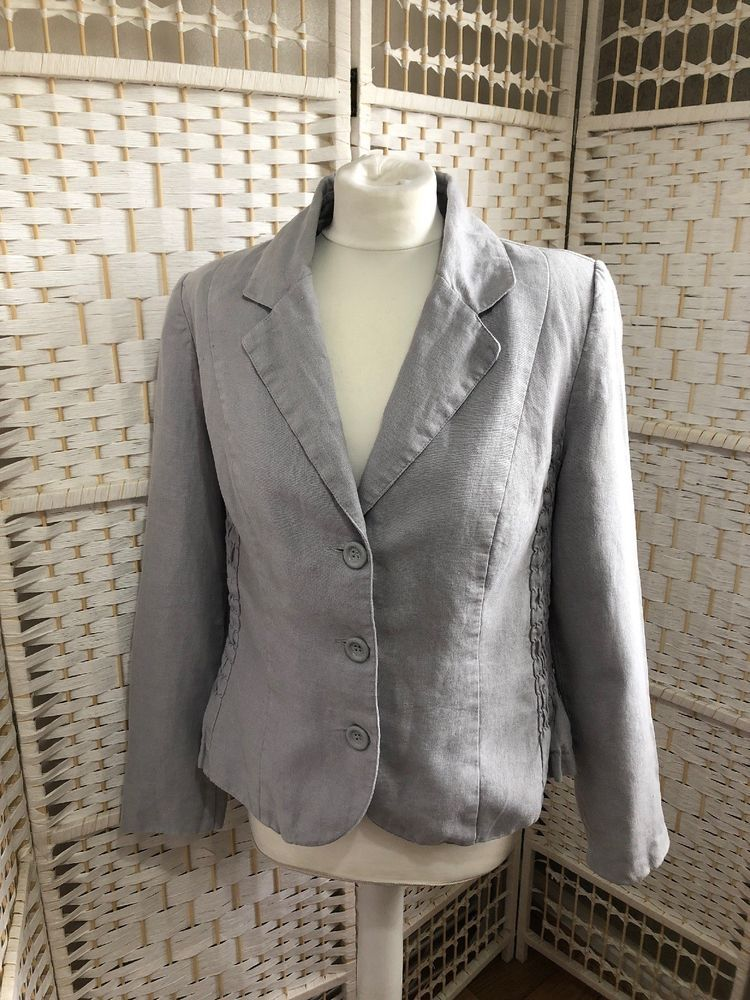 eda695329 Ladies MARKS AND SPENCER Per Una 100% Linen Grey Blazer Jacket Size 16  #fashion #clothing #shoes #accessories #womensclothing #coatsjacketsvests  (ebay link)