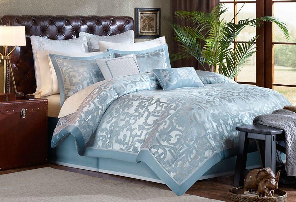 Blue Palm Beach Luxury Comforter Set King Size Luxury