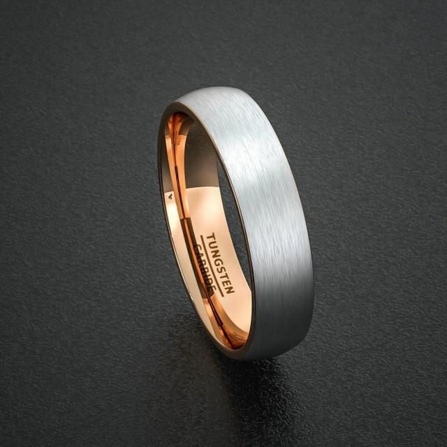 Mens Wedding Band Tungsten Ring Two Tone 6mm Brushed White With