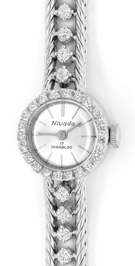 nivada damenuhr weissgold diamanten auf armband und uhr. Black Bedroom Furniture Sets. Home Design Ideas