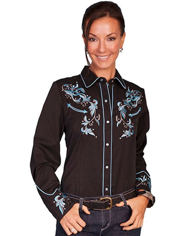 17f3fed2610 Scully Ladies Western Shirt with Blue Floral Embroidery - Tops - Women s