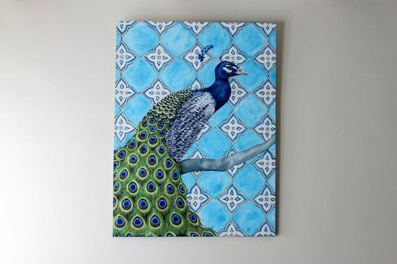 Peacock with Bright Turquoise White and by jennifermckayhiggins