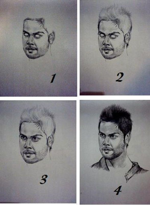 Steps of sketching of virat kohli by naveen sketching by naveen singh at touchtalent 2368