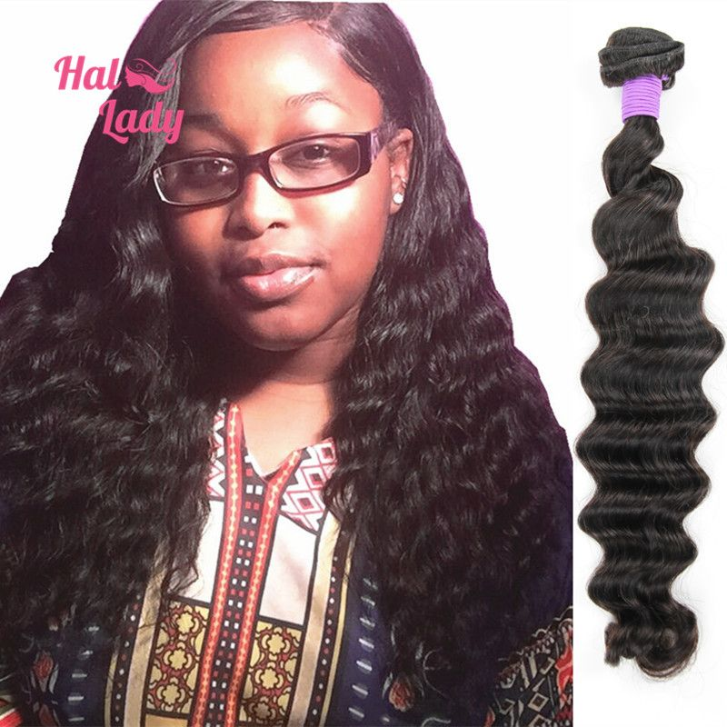 1 Bundle Loose Deep Human Hair Weaves 7a Halo Lady Hair Products 100