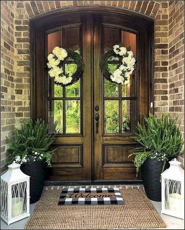 150 Beautiful Spring Decorating Ideas For Front Porch 12 Myhomeku Com Beautiful Front Doors Front Porch Decorating Front Door Design