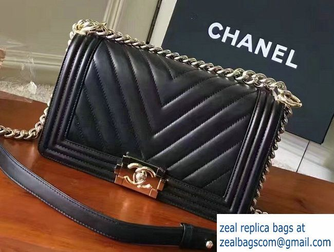 4d0c7b1ccfb3 Chanel Shine Gold Hardware Boy Chevron Flap Medium Bag Black 2017 ...