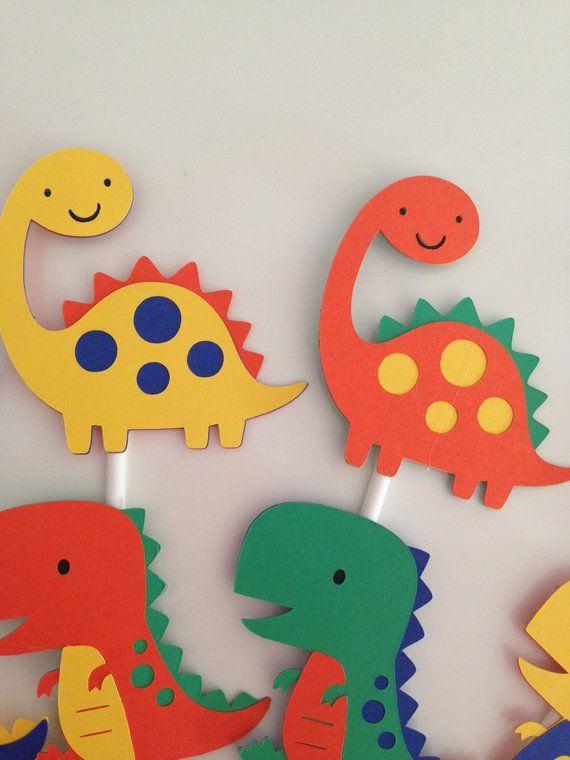 12 Dinosaur Cupcake Toppers Dinosaur Party Decor T-Rex | Etsy