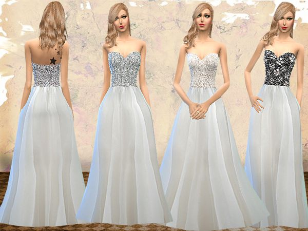 Sparkly Ball Gown Wedding Dresses: The Sims Resource: Strapless Wedding Dresses By Melisa