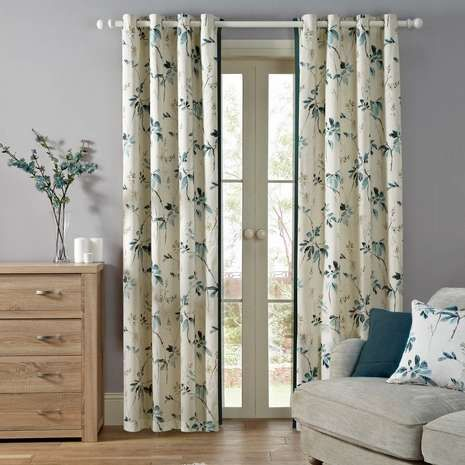 Awesome Oriental Burst Teal Lined Eyelet Curtains | Dunelm