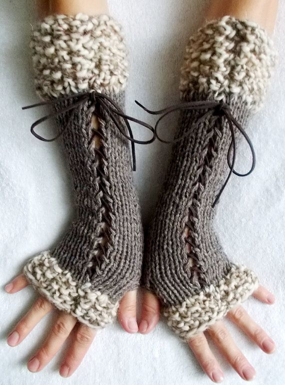 Knit Fingerless Gloves Long Wrist Warmers Taupe/ Brown Corset with Suede Ribbons Victorian Style #clothpatterns