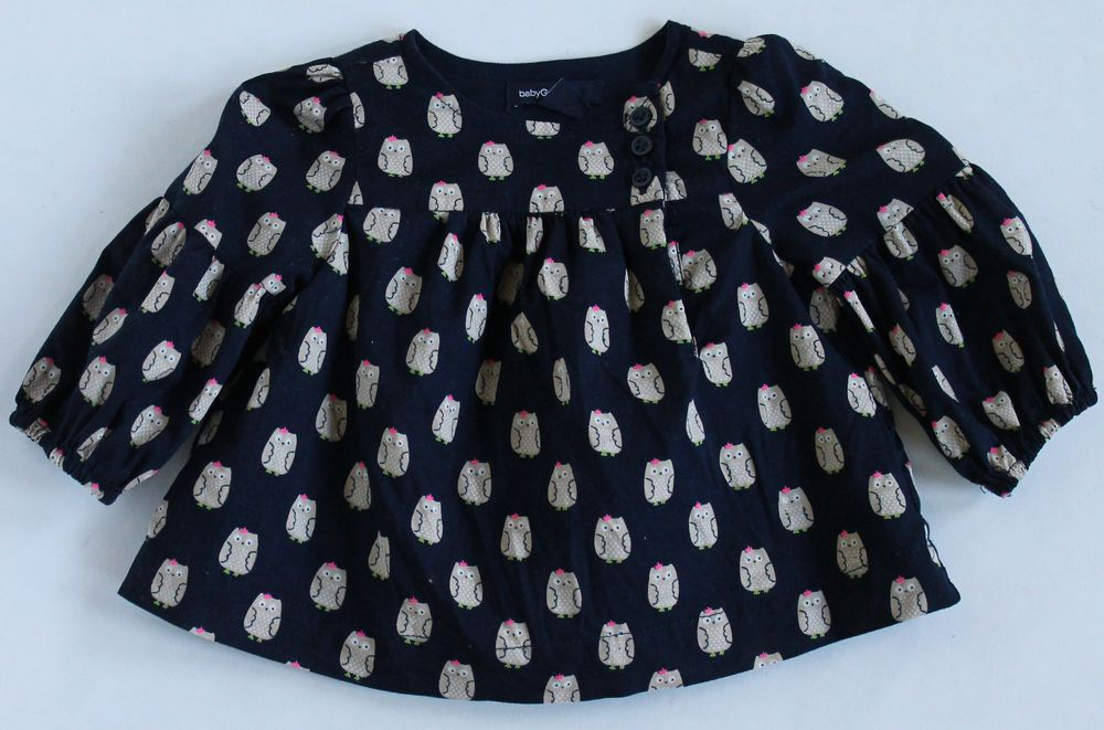 689001cc612b Baby Gap Girl 0-3 Months Navy Blue Owl Print Long Sleeve Tunic ...