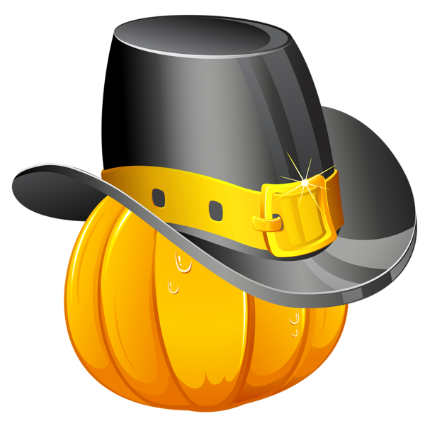 Thanksgiving Pumpkin with Pilgrim Hat PNG Clipart ...