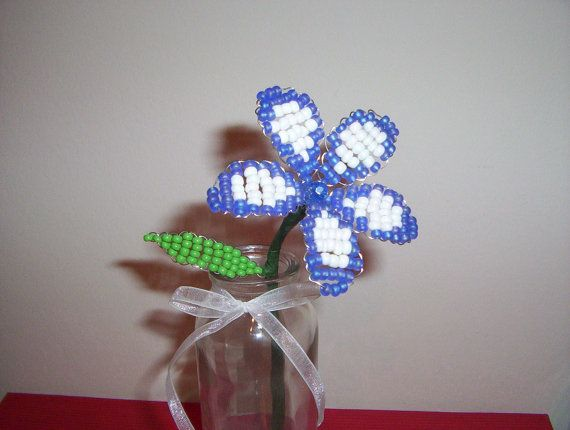 Single Stem Glass Bead Flower Blue and White by TheSomersCraftShop, $27.51