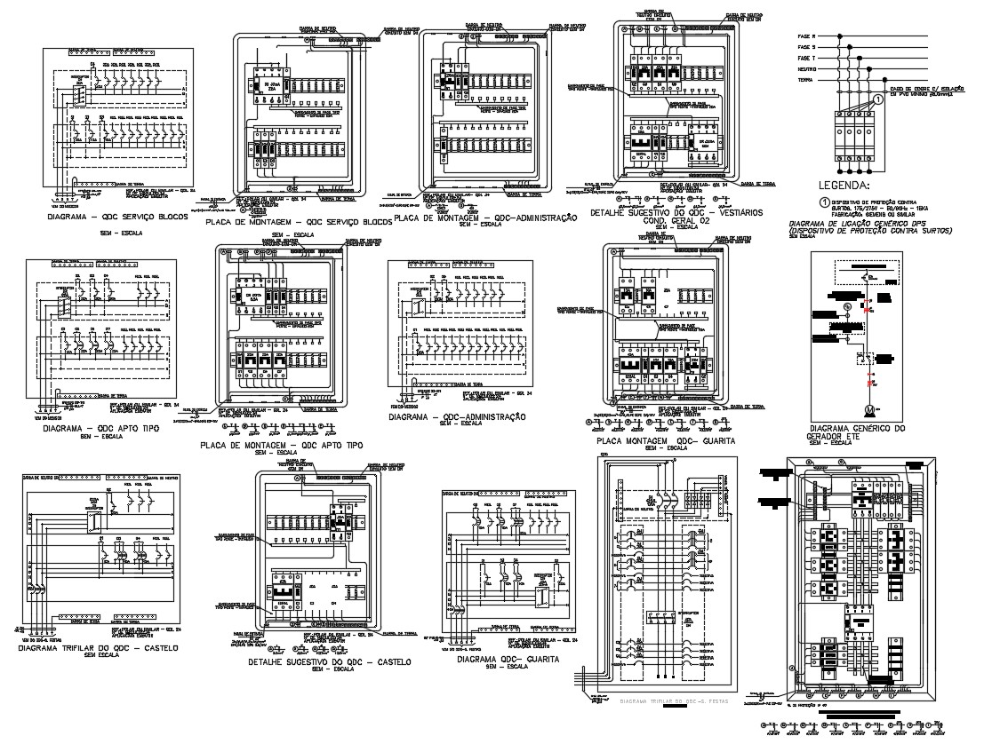 Electrical Fuse Circuits Box Design Elevation AutoCAD