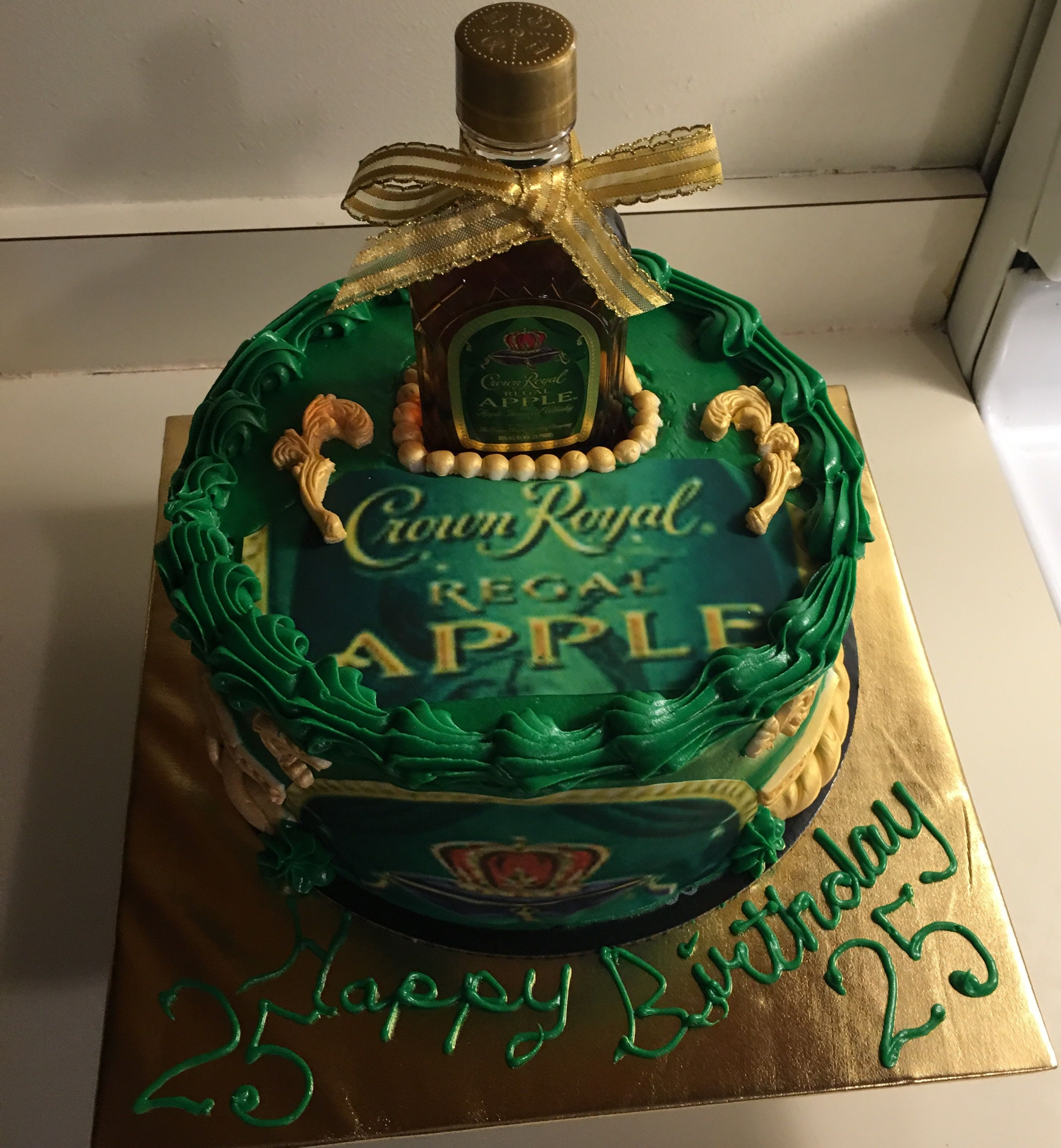 Green Apple Crown Royal Cake With Images Liquor Cake Crown