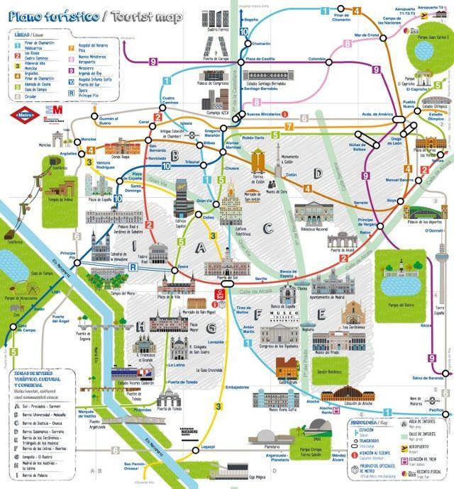 Mapa Turistico De Madrid.Madrid Mapa Turistico Los Lugares Madrid Travel Madrid