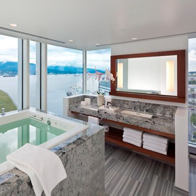 This is my kind of bathroom...maybe with some between-panes automatic window blinds!