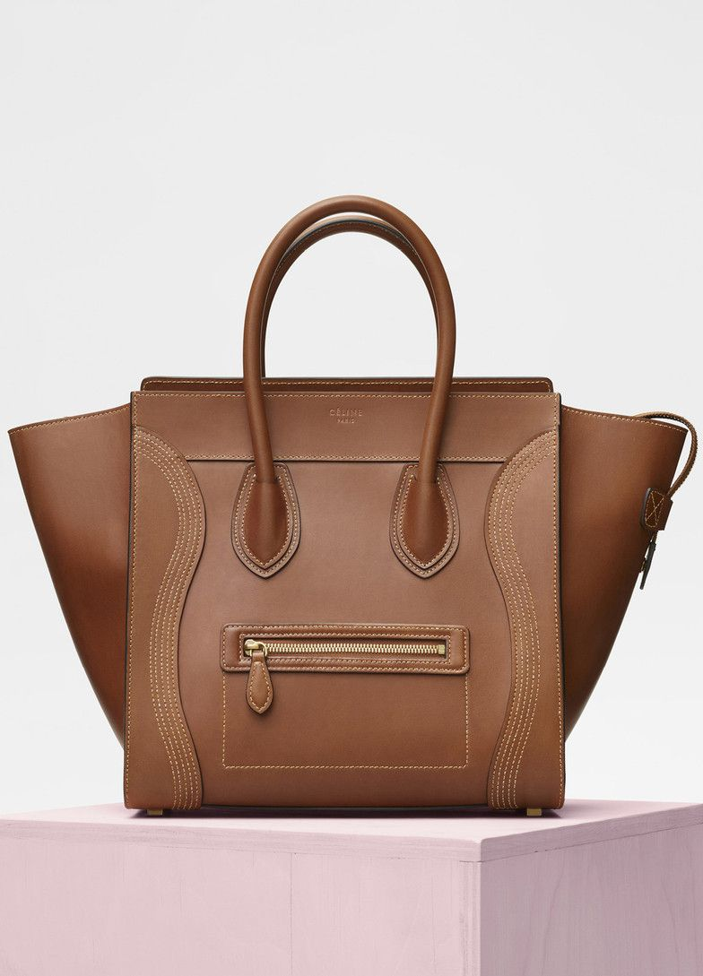 Mini Luggage Bag In Natural Calfskin Céline