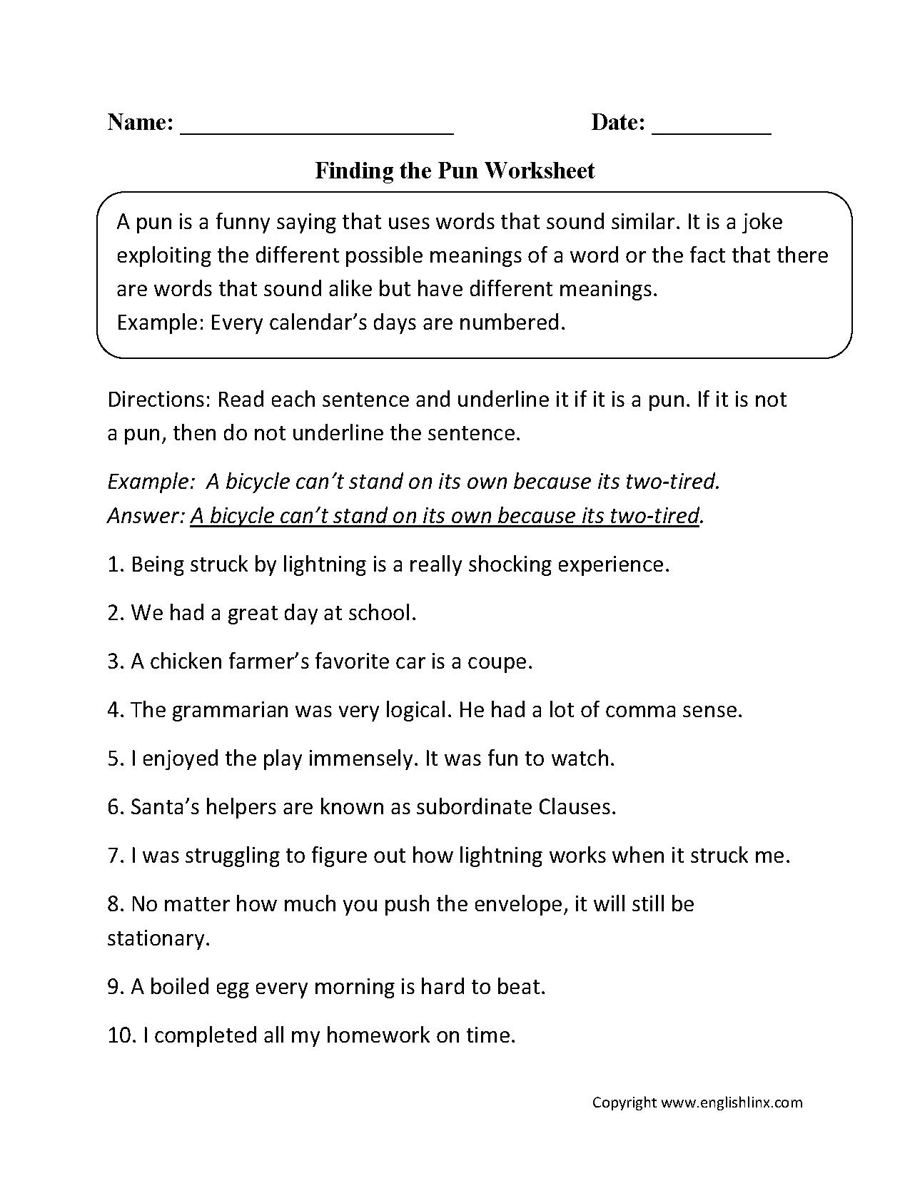 Finding The Pun Worksheet