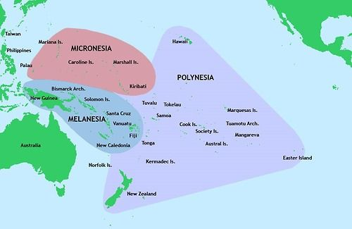 Map of the area of the 3 largest Pacific Island cultures.
