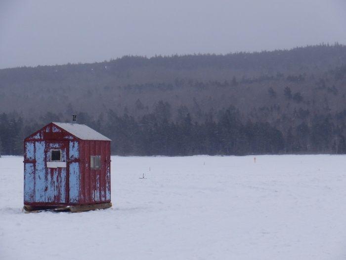 Ice Fishing In Maine Art Print