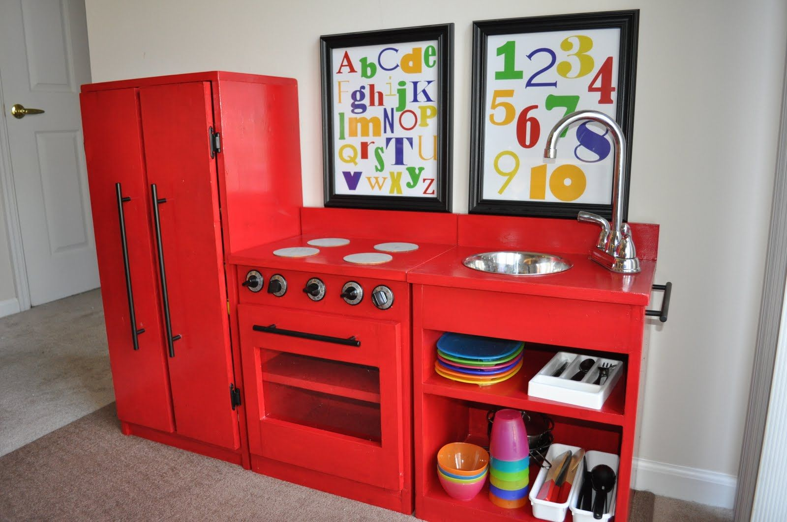 Old entertainment center DIY kitchen playset Old